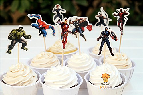 KBN 24pc Avengers SuperHero Cupcake Cake toppers Boys Party Supply Birthday -