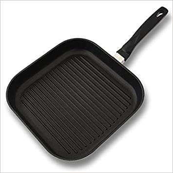 Sartén plancha de aluminio, 28 x 28 cm - Válida para cocinas de inducción: Amazon.es: Hogar