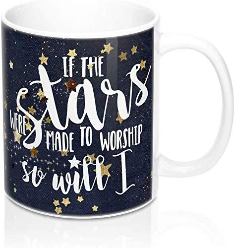 Taza con Texto If The Stars were Made to Worship So Will I Made to Worship Taza Cristiana Hillsong United Hillsong Navy Mug Faith Mug