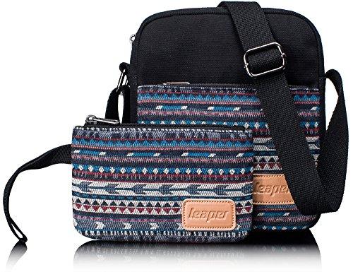 Shoulder Bag for Girls, Cute Canvas Sling Bag Shoulder Bag Pencil Case Pencil Bag 2 PCS by Leaper (Black)