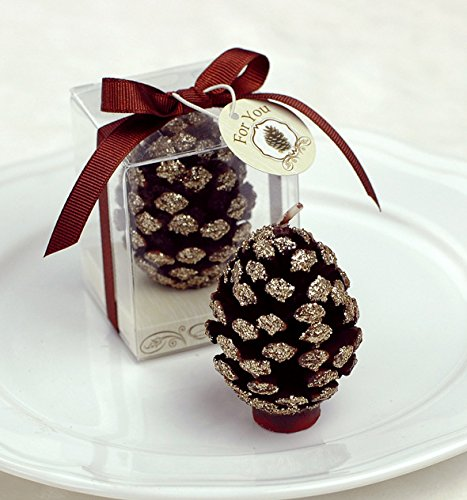MEOLY Christmas Pine Cone Birthday Candles Charming Gifts Smokeless Candles Party Wedding Favor(Gold)