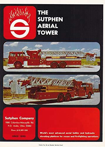 1971 Original Magazine Print Ad #1 Sutphen Aerial Ladder Fire - Ladder Magazine