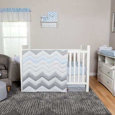 Trend Lab Blue Taffy Chevron 5-Piece Crib Bedding Set