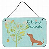 LoMall Welcome Friends Red Dachshund Metal Sign, 8 x12 Multicolor Vintage Wall Decor Art