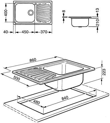Smeg /évier sg861d monovasca dimensions 86/x 50/cm