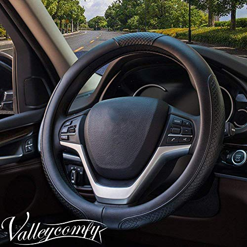 Valleycomfy Steering Wheel Covers Universal 15 inch - Genuine Leather, Breathable, Anti Slip & Odor Free (15