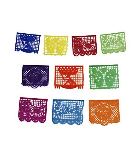Fiesta Brands 2 Pack Mexican .Life to Death Papel Picado Banner.Vibrant Colors Tissue Paper. Large Size Panels. Multicolored Dia de Los Muertos Decoration -