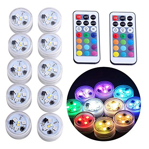 KUCAM Submersible LED Lights, Waterproof LED Tea Lights Candle with Remote Battery Operated,RGB Color Changing for Vase Home Party Wedding Table Centerpieces,10 Pack (Is What Light Tea)