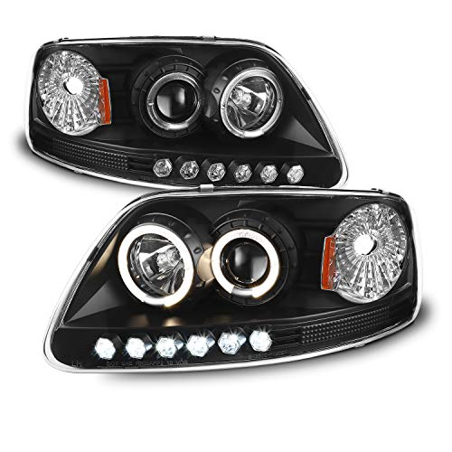 (For Ford F150 Expedition Pickup Black Halo Ring LED 1 Piece Projector Replacement Headlights Pair)