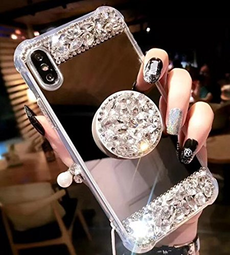 Price comparison product image iPhone 6S Crystal TPU Mirror Case, Lozeguyc Handmade Bling Diamond Cover iPhone 6 4.7 Inch Fashion Beauty Case Rhinestone Collapsible Ring Stand Shockproof Sleek Case for Girl Women-Rose Gold
