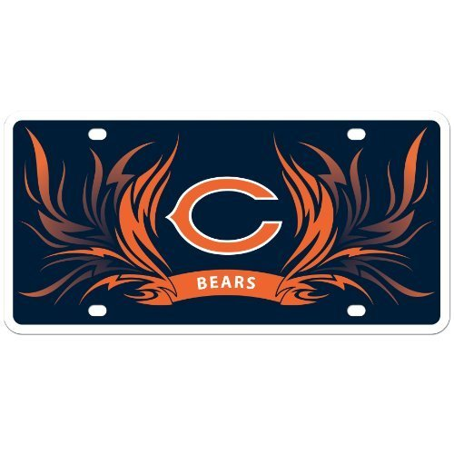 Chicago Bears Flame License Styrene NFL Plate Car Sign Tag Officially Licensed NFL Merchandise by Siskiyou by Sisiyou