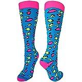 MadSportsStuff Exotic Leopard Over The Calf Socks (Neon Leopard, Small)