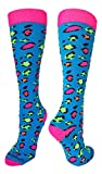 MadSportsStuff Exotic Leopard Over the Calf Socks (Neon Leopard, Medium)