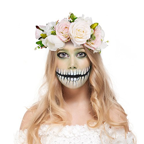 Valdler Halloween Decoration Costume Transparent Pink and Cream Rose Berries Flower Crown with Adiustable Ribbon