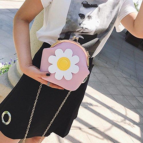 Nueva hombro cuadrada rosa bolso de señoras pequeña moda cadena personalidad Pink Er1wxq8BE