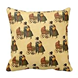 pillow case5 Mr And Mrs Dog And Puppy Vintage Wallpaper 1899 Throw Pillow Case
