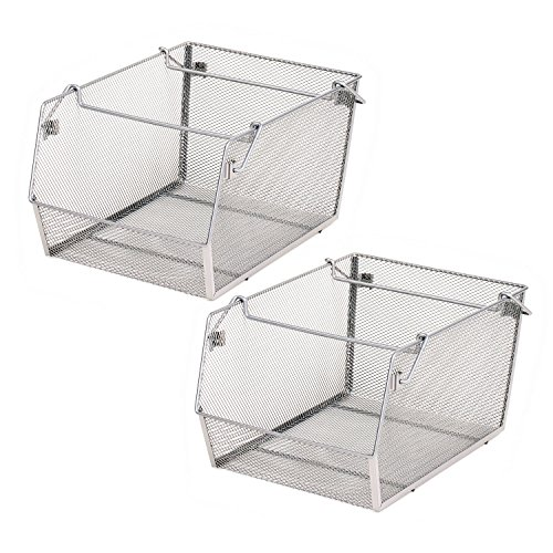 (Seville Classics Large Mesh Stacking Storage Bin (2-Pack), Platinum )