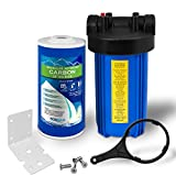 "Whole House Water Filter Purifier System, Big Blue Housing with Presser Relief Button, 1"" Inlet/Outlet Brass Port & (GAC) Granular Activated Carbon Filter Cartridge (10 Inches)"