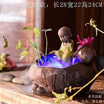 Fuentes de agua ceramica Decoracion Acuario decoracion Decoracion Hogar humidificador Fengshui ronda shramanera adornos,Flor IVA nebulizador: Amazon.es: ...