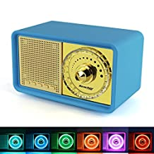Reacher Retro Classic Style Portable Bluetooth Speaker, MP3 Player speaker with LED Light , Built-in Power Bank, Mic, support Micro TF SD Card, AUX Line-In, USB driver, Powerful 7W Audio Driver(Blue)