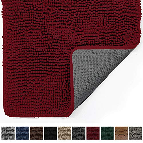 Gorilla Grip Original Indoor Durable Chenille Doormat, Large, 48x30, Absorbent, Machine Washable Inside Mats, Low-Profile Rug Doormats for Entry, Back Door, Mud Room Mat, High Traffic Areas, Burgundy (30 X Doormat 48)
