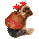 Simply Dog Reindeer Costume Brown Christmas Pet Outfit with Antlers