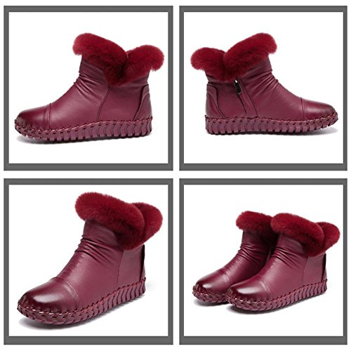 38 Casual Boots Pregnant Ankle Heel Soft Handmade Soles Shoes Lazy Thicker Plush Flat Cotton Female WINERED Leather Warm CPgwW