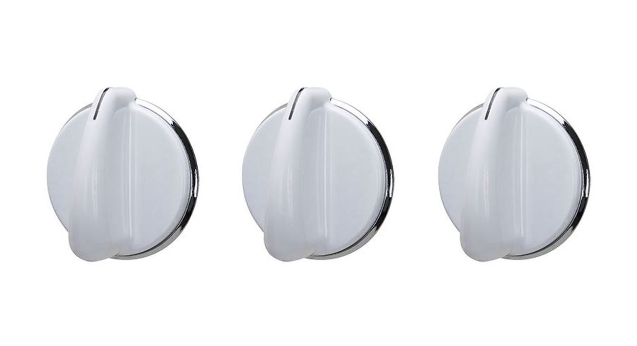 Washer Knob for GE 175D3296, 175D3296P001 White Silver Knob Set Of (3)
