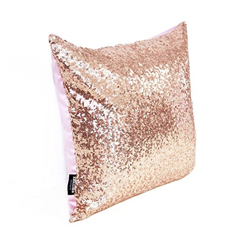 glitzy sequin u0026 comfy satin solid throw pillow cover 18 inch square pillow case hidden zipper design 1 cover pack onlyrose gold home u0026 kitchen