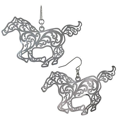 (Laser Cut Running Horse Open Filigree Swirl Western look Dangle Drop Earrings (Silver Tone))