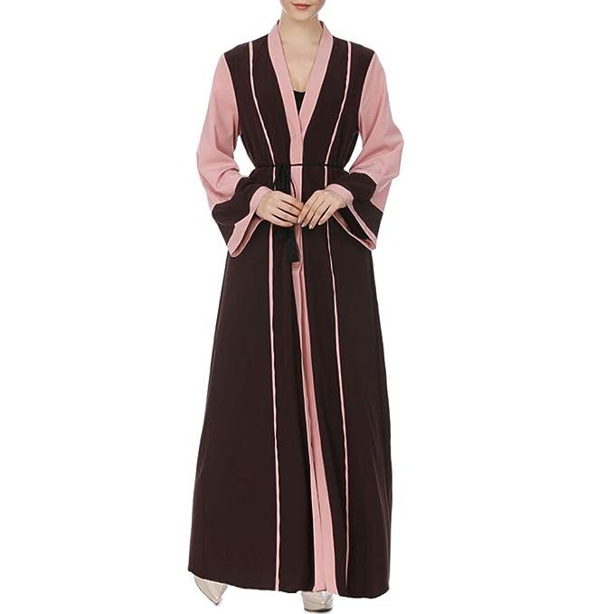 Sylar Vestidos Invierno Mujer Moda Simple Manga Larga Musulmán Color Coincidente Vestido Mujer para Noche Y