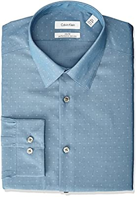 Calvin Klein Men's Non Iron Slim Fit Diamond Dobby Point Collar Dress Shirt