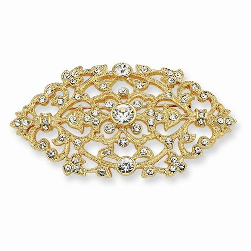 Inspired Silver Jacqueline Kennedy Collection 24k Pave Set Swarovski Crystal Element Gold Plated Floral - Jacqueline Collection Kennedy