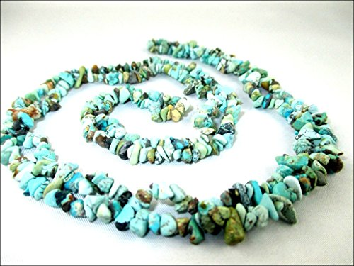 HiJet Turquoise Chips Strands Mala Approx. 32-34 Inch Long for making Jewelry Balancing Positive Energy Harmony Luck Yoga Meditation Reiki Natural Unique Genuine Authentic Fashion Style Easter Sunday (Turquoise Chip)