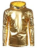 SOWTEE Mens Metallic Shiny Christmas Nightclub Style Pullover Hoodie Large Gold
