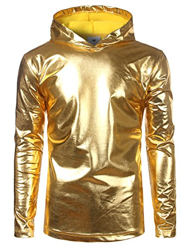 SOWTEE Mens Metallic Shiny Christmas Nightclub Style Pullover Hoodie Medium Gold