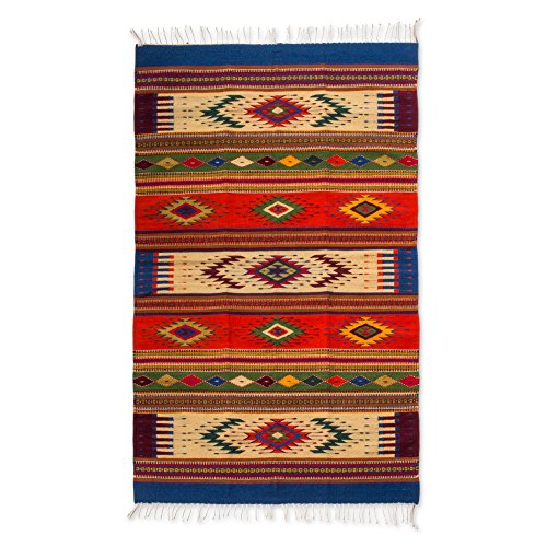 NOVICA Multicolor Zapotec Wool Area Rug (4' x 7'), 'Juchitan Fiesta' by NOVICA