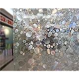 NEO Home Translucent Cobblestone Non Glue 3D Static Window Film Stained Privacy Window Film for Decorative Glass Window Film Anti Uv.3Ft x 9.8Ft (90cm x 300cm)
