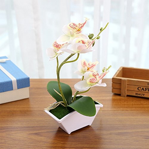 Lingstar Simulate Butterfly Orchid Potting Flower Phalaenopsis Silk Flowerpot Potted Artificial Plant Fake Orchids Flower with White Vase for Wedding Home Decor, White