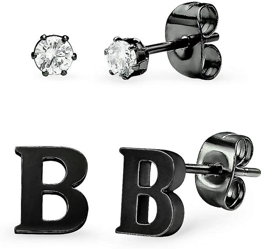 Stainless Steel Black Tone Alphabet Initial Letter Tiny Earring Studs With Cubic Zirconia 3mm Set Letters A-Z