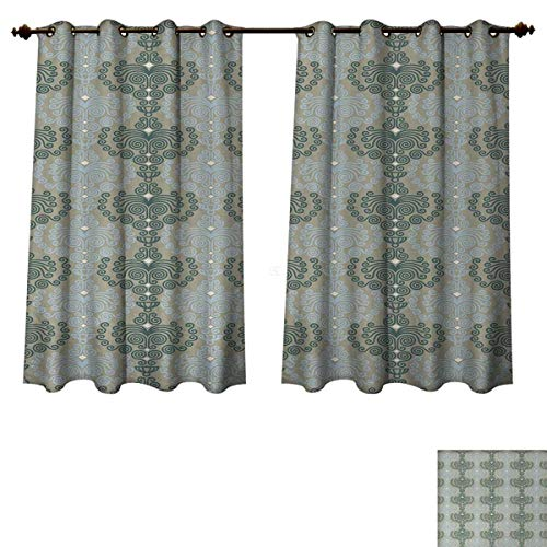 (Anzhouqux Floral Bedroom Thermal Blackout Curtains Abstract Art Damask Desgin Floral Ornament Background Wallpaper Pattern Print Blackout Draperies for Bedroom Blue and Taupe W63 x L63 inch)