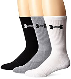 Under Armour Men\'s Elevated Performance Crew Socks (3 Pack), Steel Assortment, Large
