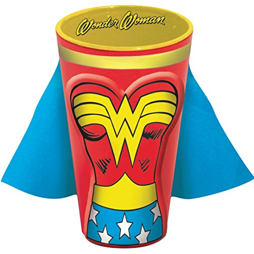 ICUP DC Wonder Woman Molded Caped Ceramic Pint Glass, Clear
