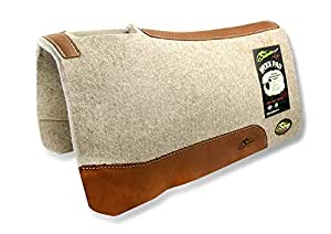 """""""The Montana"""" 100% Extra Fine Wool Saddle Pad by Southwestern 3/4"""" or 1"""" Thick and Designer Wear Leather"""