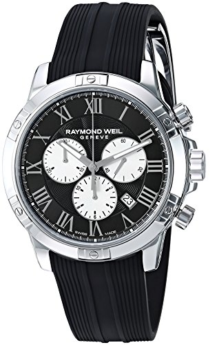 (Raymond Weil Men's Tango Stainless Steel Quartz Watch with Rubber Strap, Black, 20 (Model: 8560-SR-00206))