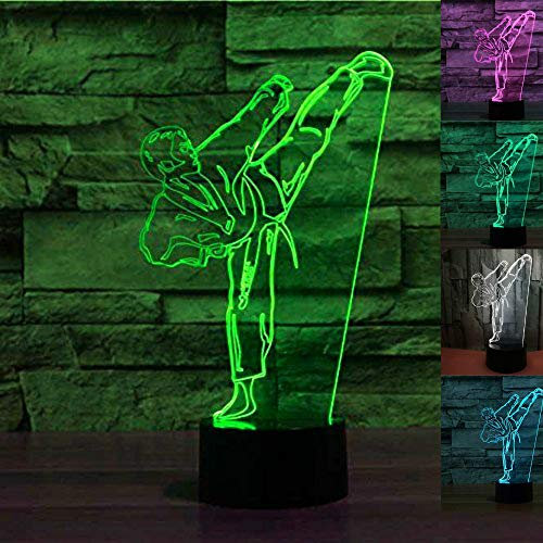 Jinnwell 3D Taekwondo Night Light Lamp Illusion Night Light 7 Color Changing Touch Switch Table Desk Decoration Lamps Perfect Christmas Gift with Acrylic Flat ABS Base USB Cable Toy