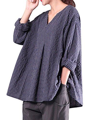 LANISEN Womens Plus Size Long Sleeve Cotton Linen Casual Loose Plaid Blouse Tops Shirts