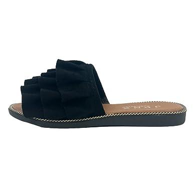 1380c8648 Amazon.com: BSGSH Clearance! Women Summer Slides Sandals, Women Fashion  Pleated Ruffle Slide-On Sandal Beach Shoes: Clothing