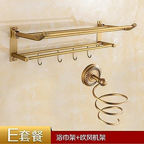 STAZSX Actividades plegables antiguas cobre europeas toalla toalla rack estantes cuarto debaño con gancho de ropa