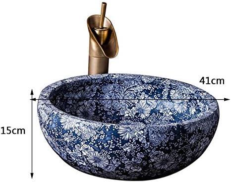洗面盆地セラミックブルーラウンド中国のレトロなホテルのバスルームアート洗面 P3/18